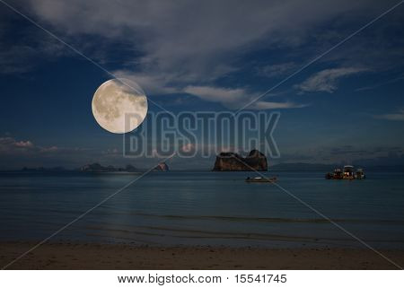 moon and tropical sea