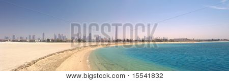 Dubai. Panorama of beautiful beach and sea