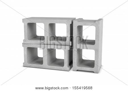 3d rendering of three cinder blocks isolated on a white background, two of the blocks are lying and the third one is in an upright position. Building materials. The construction industry. Renovation of premises.