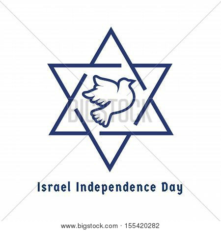 Israel Independence Day. Jewish Holiday logo concept. Symbols of Israel, David star, dove in white and blue. National independence concept.  Greeting card, party banner background. Vector illustration