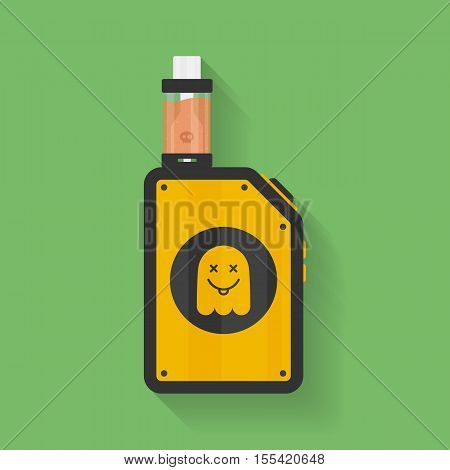 Icon of Vape device with ghost silhouette. Electronic cigarette with e-liquid. Vector Vaping symbol. Box mod with Rebuildable tank atomizer, clearomizer, cartomizer. Vector illustration