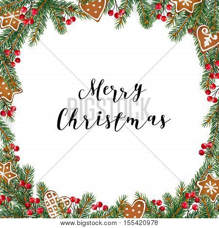 Christmas frame wreath made of evergreen fir spruce branches red berries and gingerbread cookies on white background. Vector illustration.