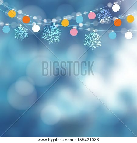 Christmas card invitation. Winter birthday garden party decoration. Vector illustration with string of lights snowflakes and blurred background.
