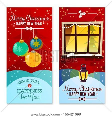 Christmas vertical banners with christmas decorations snowfall and happy new year invitation text flat vector illustration