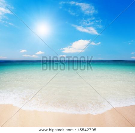 beach and cloudy sky