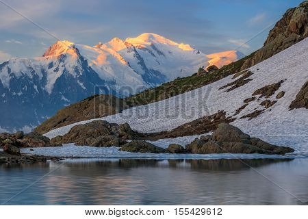 Mont Blanc massif in the French Alps. View from Lac Blanc