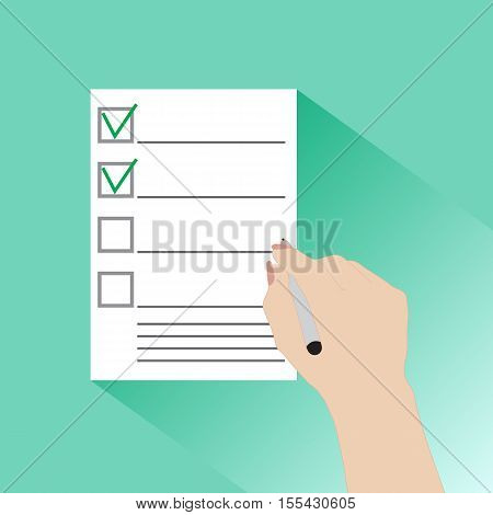 Hand of a businessman holding a questionnaire, contract, agreement, document. Flat illustration style. Vector illustration.