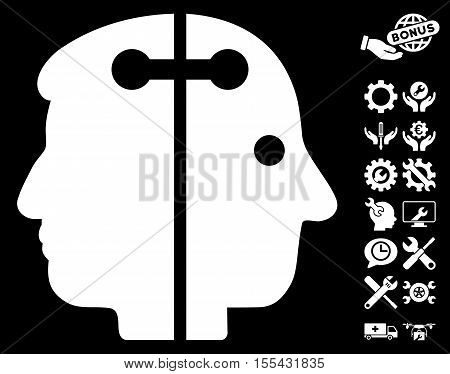 Dual Head Connection pictograph with bonus settings images. Vector illustration style is flat iconic white symbols on black background.