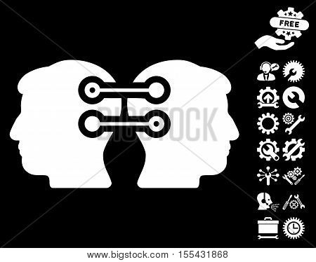 Dual Heads Interface Connection icon with bonus setup tools pictograms. Vector illustration style is flat iconic white symbols on black background.