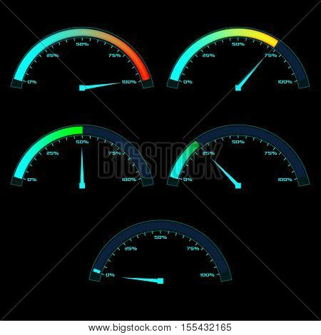 Power or Speed Meter. Dashboard gauge analog sensor in different state phases. Vector illustration