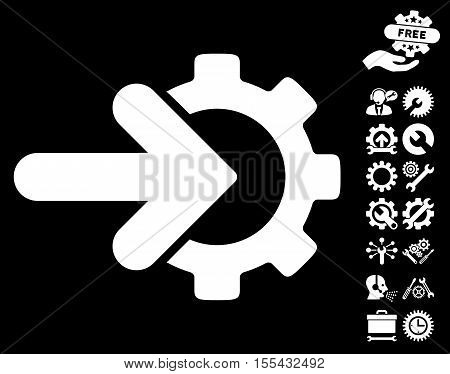 Gear Integration pictograph with bonus options pictograph collection. Vector illustration style is flat iconic white symbols on black background.