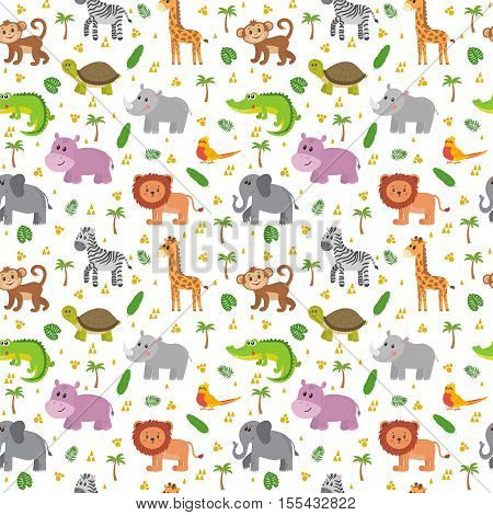 African Animals Seamless Pattern. Cute Cartoon Childish Animals. Jungle Or Zoo Themed Background