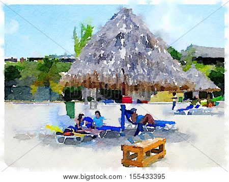 Digital watercolor painting of people sitting on lounger seats at the seaside under a thatched beach parasol. With space for text.