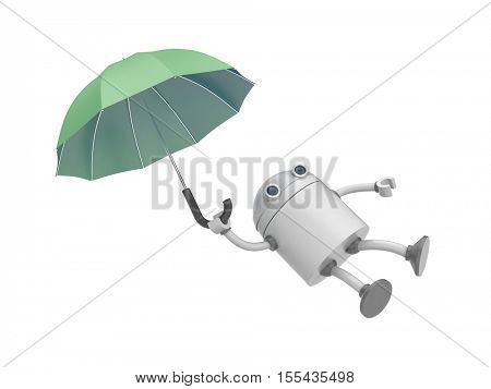 The robot is flying on the umbrella. 3d illustration