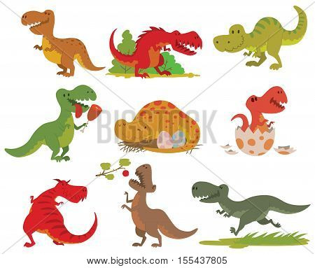 Dinosaurs cartoon collection. Cute t-rex tyrannosaurus pterosaur toy characters. Vector animals T-rex dinosaur tyrannosaurus monster. Reptile animal T-rex dinosaur cartoon danger carnivorous.