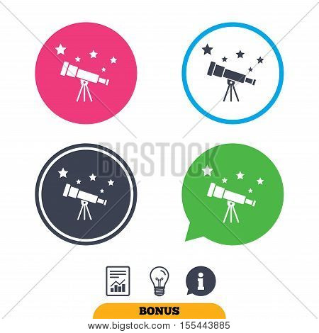 Telescope with stars icon. Spyglass tool symbol. Report document, information sign and light bulb icons. Vector