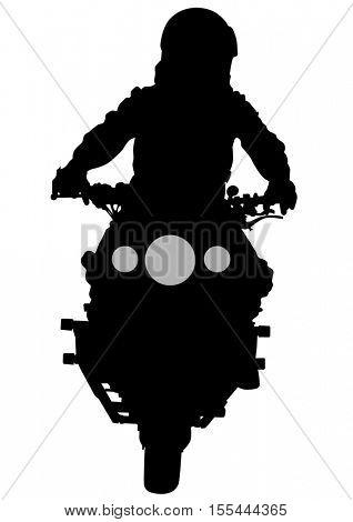 Man on sport bike on white background