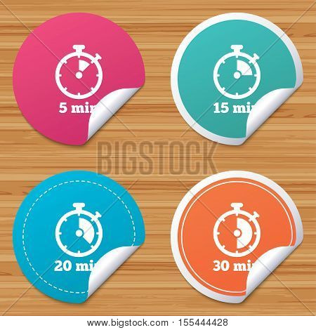 Round stickers or website banners. Timer icons. 5, 15, 20 and 30 minutes stopwatch symbols. Circle badges with bended corner. Vector