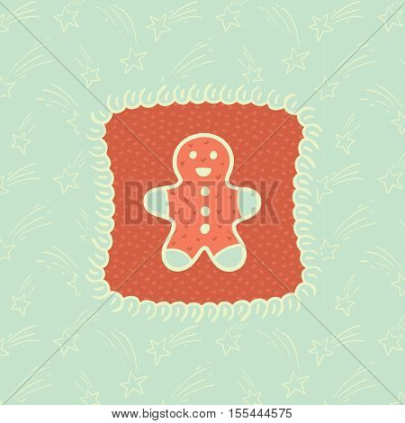Christmas and New Year vintage ornate frame with Gingerbread Man symbol. Doodle illustration greeting card.