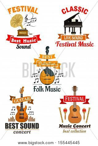 Emblems and icons for music festival, concert. Vector labels of musical instruments piano, guitar, gramophone. Ribbons stickers for classic, ethnic, folk music concerts. Design for placard, poster, banner