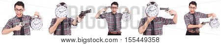 Young man with clock isolated on white