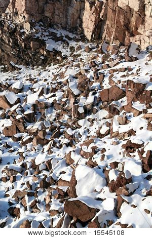 Background from stones covered snow