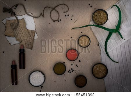 Alchemy Lab. dried herbs, salt, flasks pipettes on canvas