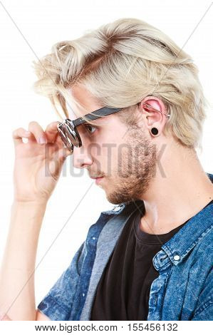 Hipster Artistic Man With Sunglasses, Profile Portrait