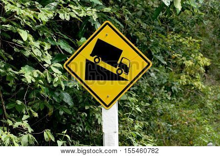 Steep downhill road sign / traffic sign