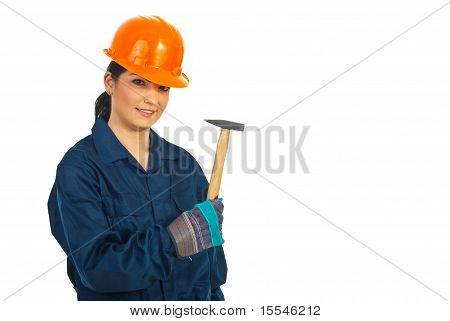Worker Woman With Hammer
