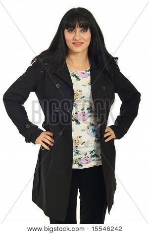Pretty Brunette Woman In Spring Jacket