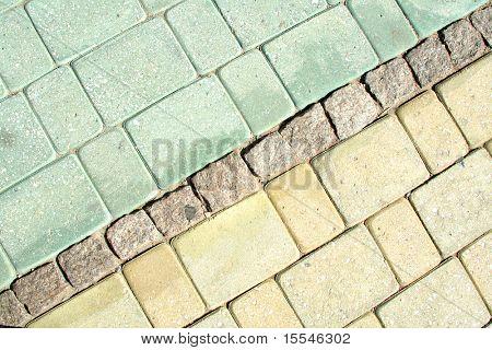 Floor of granite paving stone.