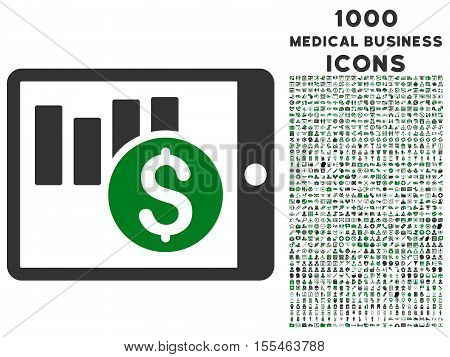 Sales Chart on Pda vector bicolor icon with 1000 medical business icons. Set style is flat pictograms, green and gray colors, white background.