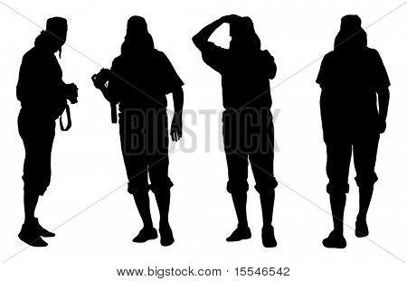 Vector siluetas de hombre de fotógrafo