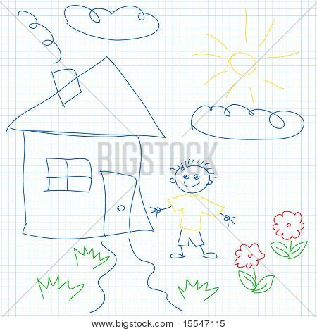 child drawing house vector seamless pattern