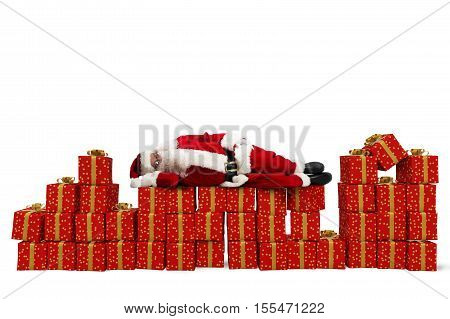 Santa Claus sleeping over Christmas gift packs