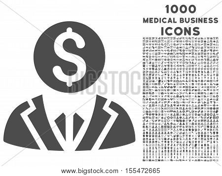 Banker vector icon with 1000 medical business icons. Set style is flat pictograms, gray color, white background.