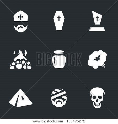 priest, coffin, grave, crematorium, dust, smoke, pyramid, mummy, skull.