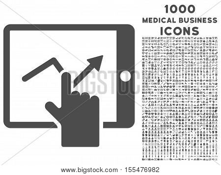 Tap Trend on Pda vector icon with 1000 medical business icons. Set style is flat pictograms, gray color, white background.