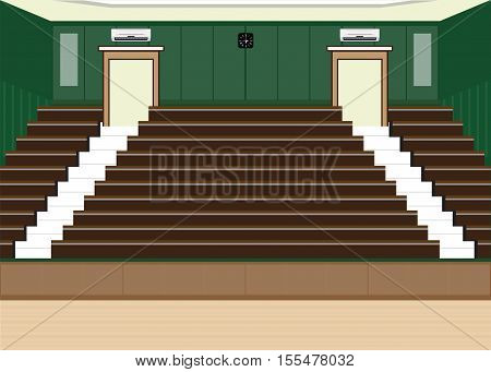 University lecture main hall with a Large Seating Capacity lecture room interior building flat design vector illustration.