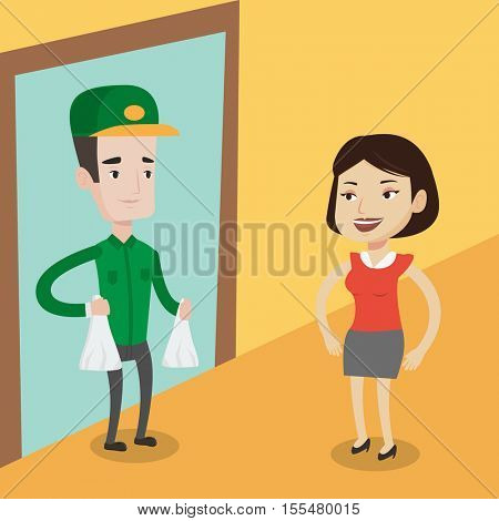 Delivery man delivering online shopping order. Women receiving packages with groceries from delivery man. Man delivering groceries to customer at home. Vector flat design illustration. Square layout