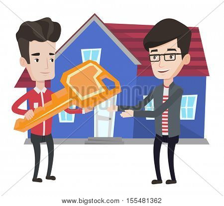 Real estate agent giving key to a new owner of a house. Real estate agent passing house keys to new owner. Happy man buying a new house. Vector flat design illustration isolated on white background.