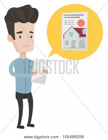 Man looking at photo of house on digital tablet. Man seeking for appropriate house on digital tablet. Man holding home purchase contract. Vector flat design illustration isolated on white background.