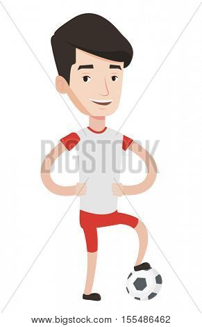 Young caucasian smiling male football player standing with football ball. Happy professional football player posing with football player. Vector flat design illustration isolated on white background.