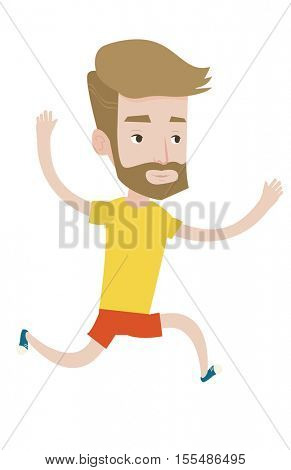 Young caucasian man running. Happy male runner jogging. Full length of smiling male athlete running. Hipster sportsman with beard running. Vector flat design illustration isolated on white background.