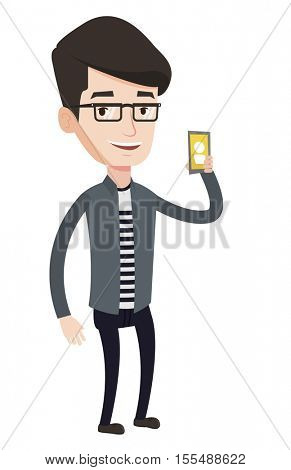 Young man holding ringing mobile phone. Caucasian man answering a phone call. Man standing with ringing phone in hand. Vector flat design illustration isolated on blue background. Square layout.