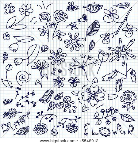 hand drawn flowers doodle vector