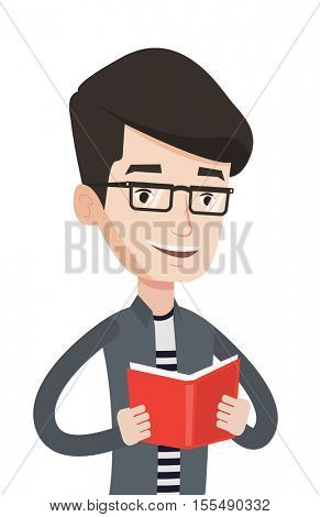 Smiling student reading a book. Caucasian cheerful male student reading a book and preparing for exam. Student holding a book in hands. Vector flat design illustration isolated on white background.