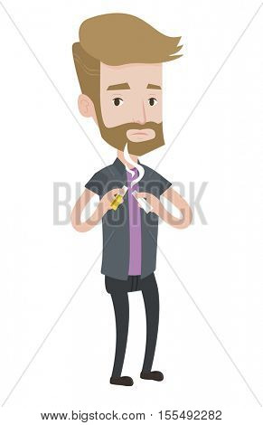 Hipster caucasian man with beard breaking the cigarette. Man crushing cigarette. Man holding broken cigarette. Quit smoking concept. Vector flat design illustration isolated on white background.