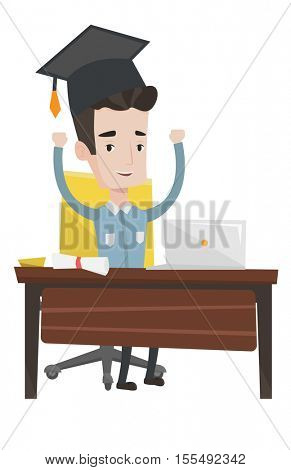 Graduate sitting at the table with laptop and diploma. Graduate in graduation cap using laptop for education. Online graduation concept. Vector flat design illustration isolated on white background